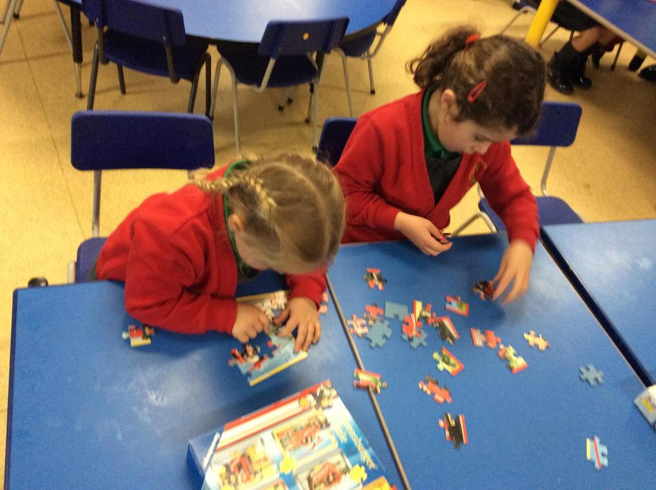We thought about how shapes fit together with jigsaws!