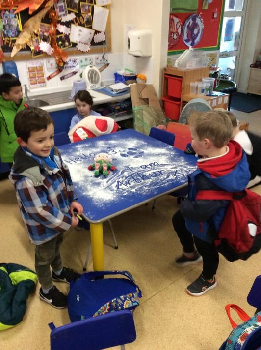 Arthur the Elf arrived in R3 making snow angels on our art table!