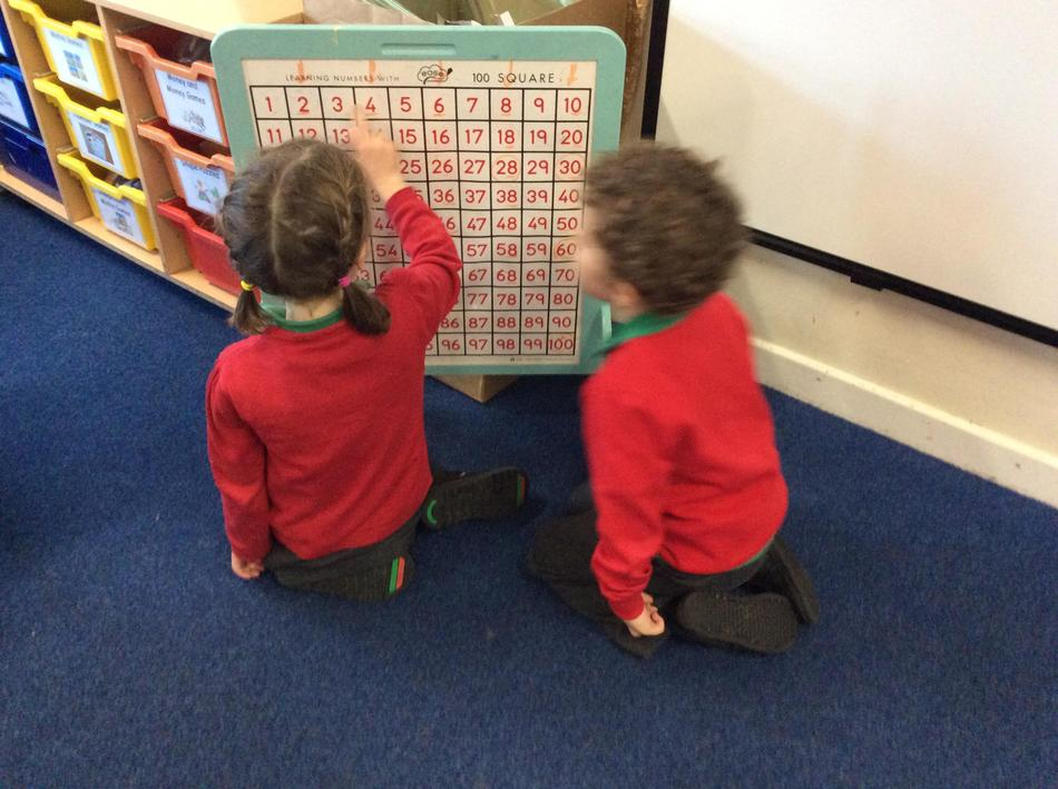 We love using the class hundred square to practise counting in twos and tens!