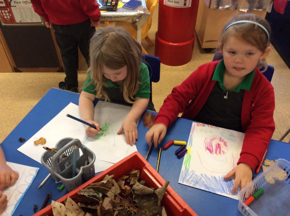 Making leaf people from leaf rubbings!