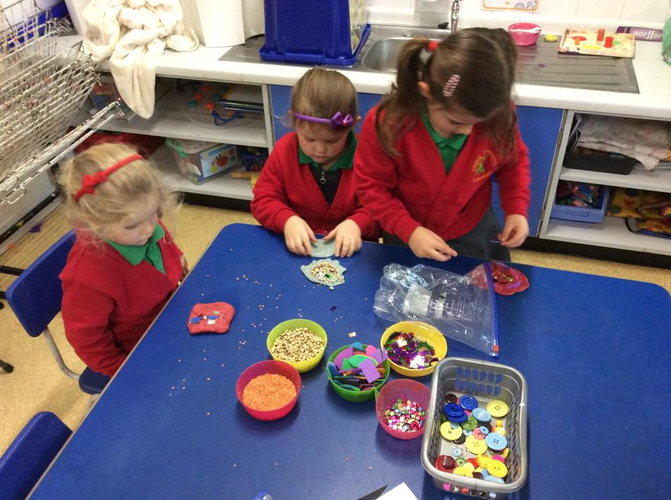 We even made Rangoli and Mandala patterns with our playdough!