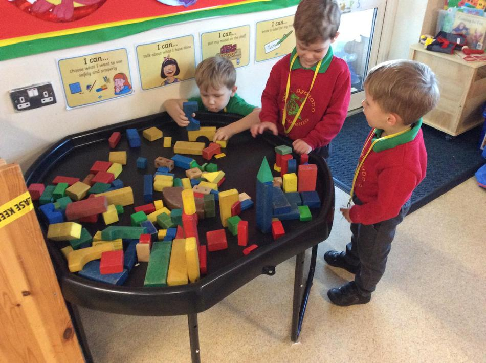 We made some tall rockets working hard to balance the blocks.