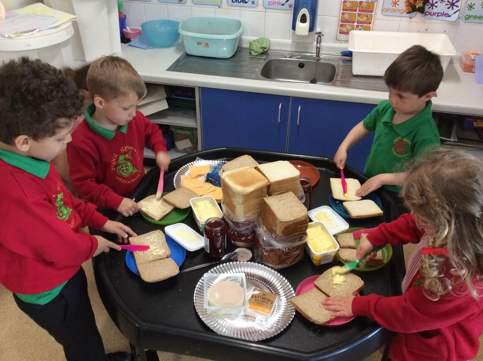 We made our own sandwiches for the hungry tiger!