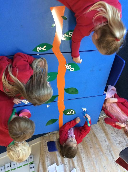 We matched magic beans to the number leaves!
