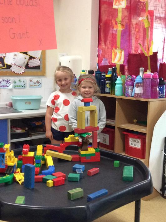 We made our own towers and beanstalks that balanced.