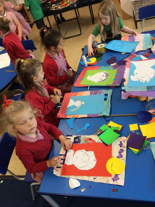 Making our Royal Portraits ready for hanging in the art gallery with frames!