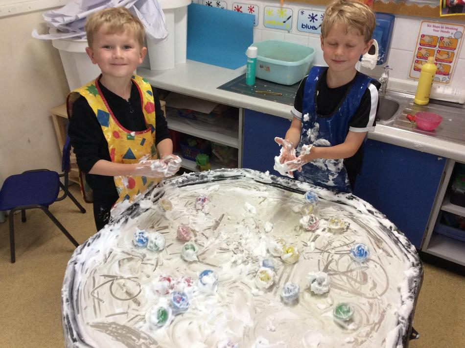 Shaving foam and letter formation...so messy but so much fun!