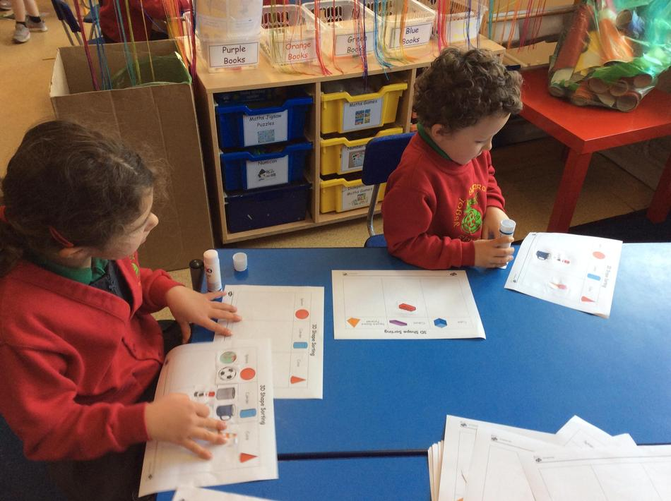 Sorting 3d shapes...we need lots of practise naming and talking about properties!
