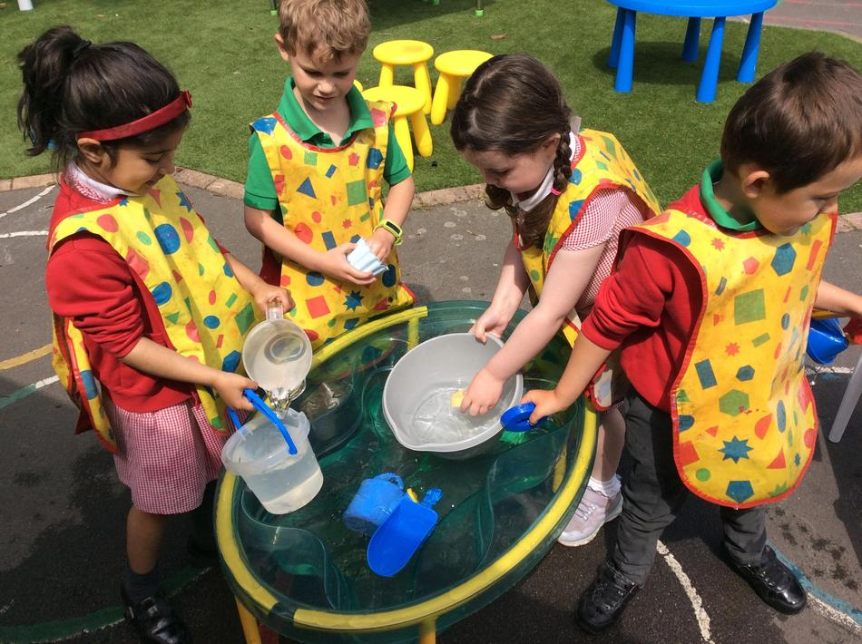 We've been learning about capacity this week in our water tray!