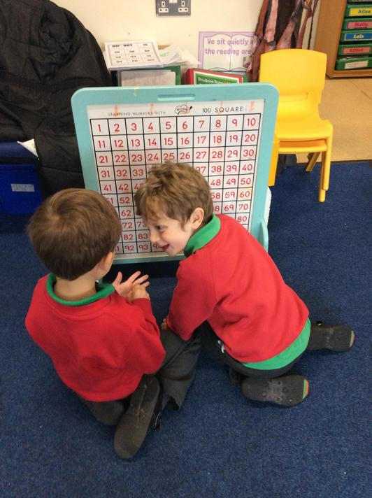 We used the hundred square independently to help us count in 2's, 5's and 10's