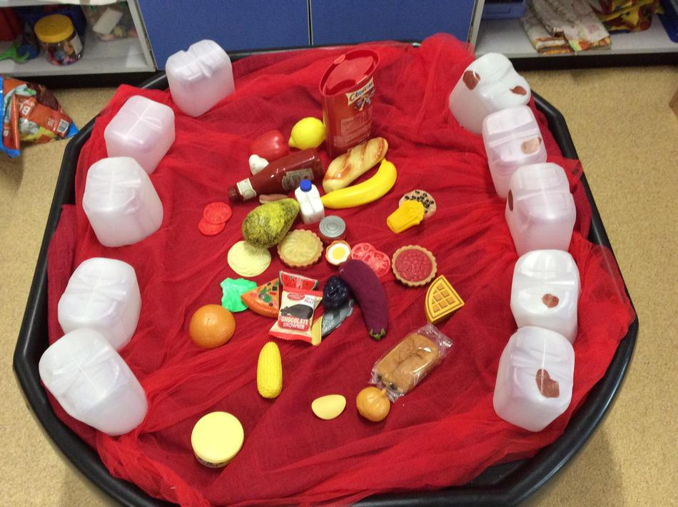 We had a giant mouth to sort healthy foods for our teeth...look at those cavaties!