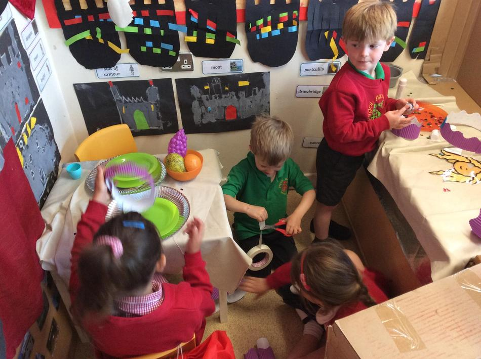 Making our own crowns in the role play.