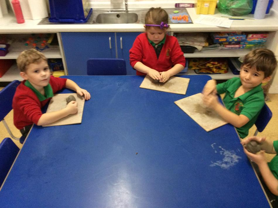 Then we made our diya lights with clay!