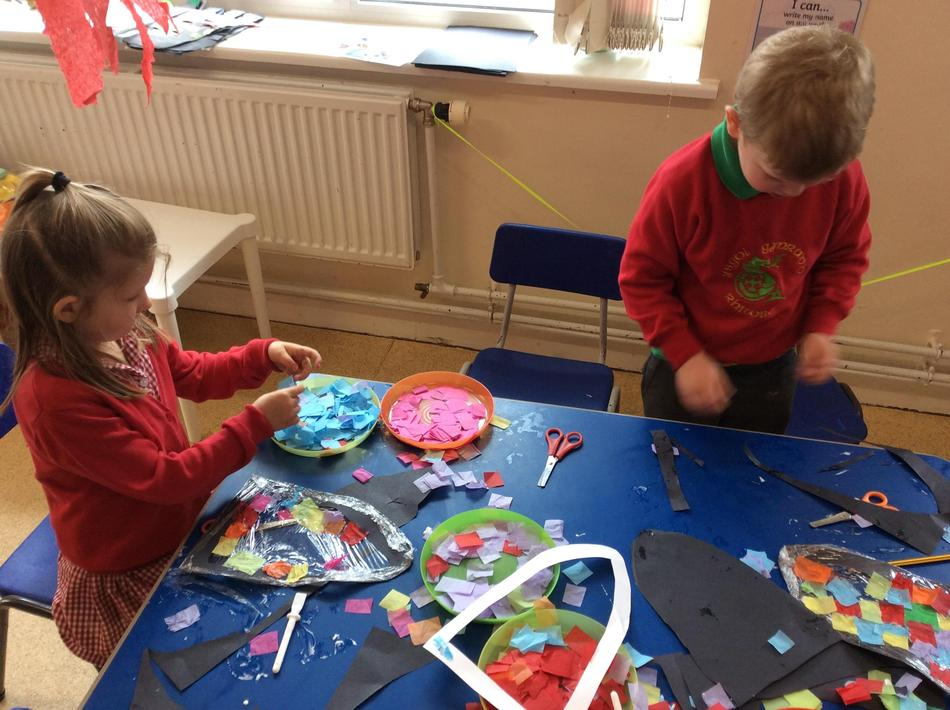 Making our own royal stained glass windows!