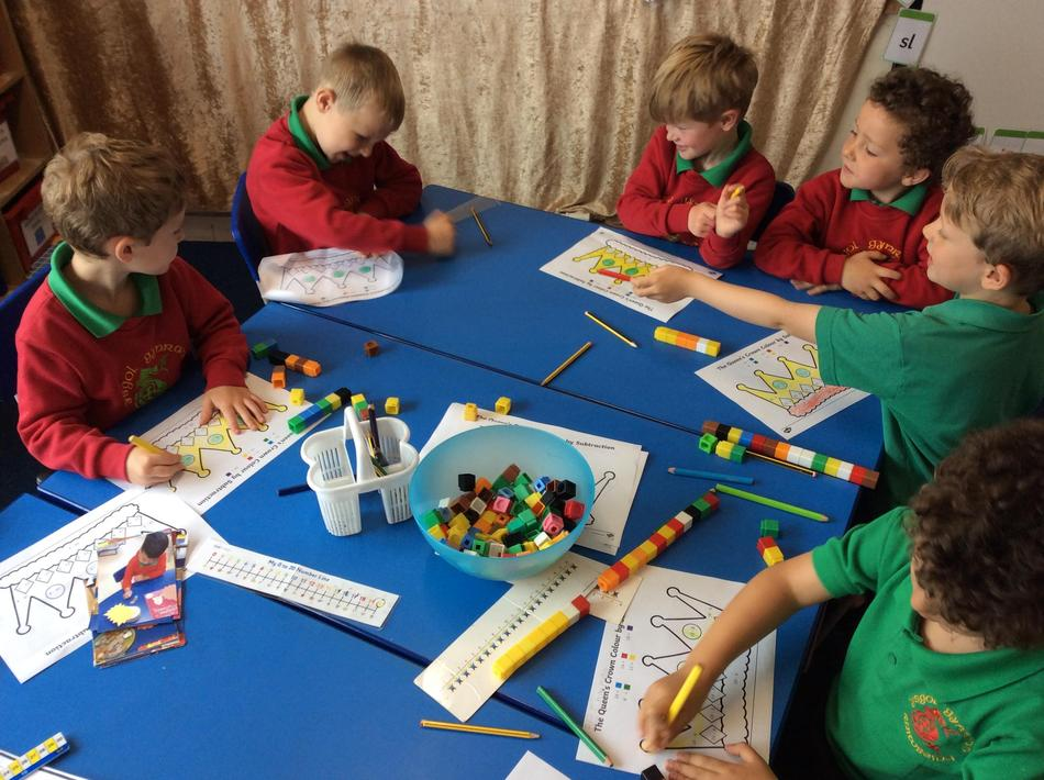 We did a subtraction puzzle on crowns using maths resources to help us.