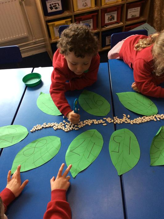 We used teen numbers on leaves today!