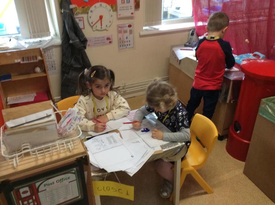 We wrote letters to Pudsey in the Post Office