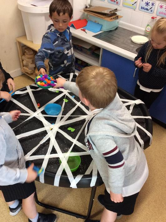 We had to use our fine motor skills to get the pants out of the web!