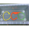 Letter formation with coloured paint