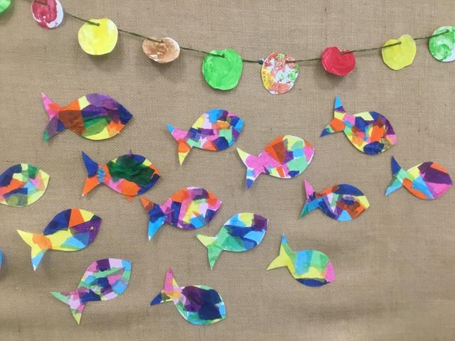 In 4M, we have been creating mosaic fish and apple garlands to celebrate Rosh Hashanah