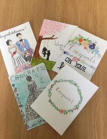 Wedding Card for Mrs Burgess who donates £100 each term to buy uniform for pupils in need!