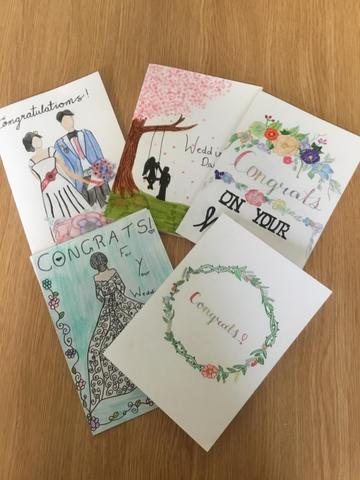 Wedding cards designed by Y6 for Mr and Mrs Burgess