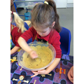 Mixing the wet and dry ingredients together
