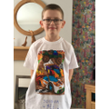 Joshua has coloured in his t-shirt.