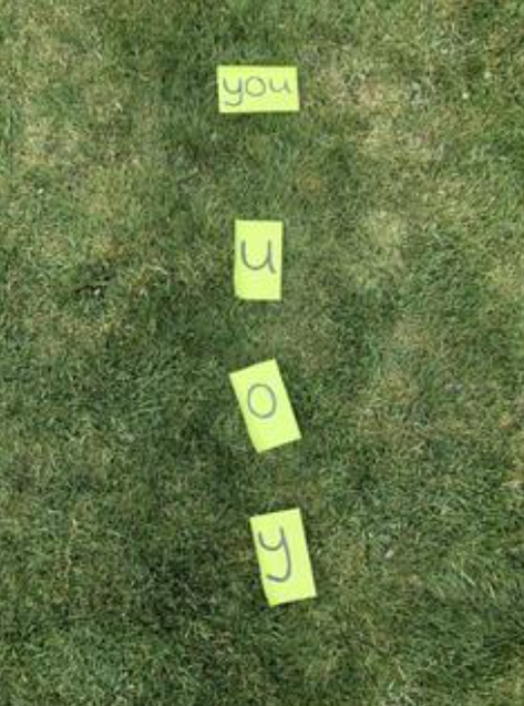 Jump on each letter of the word and then say the word at the end.