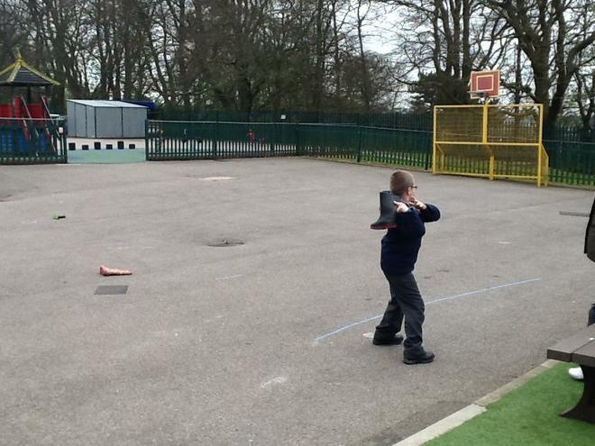 Welly throwing, measuring distance