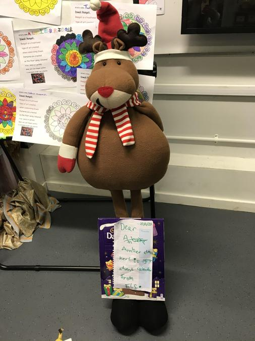 The cheeky elf left a giant Rudolph Reindeer too!