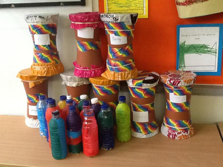Our recycled drums and sensory bottles