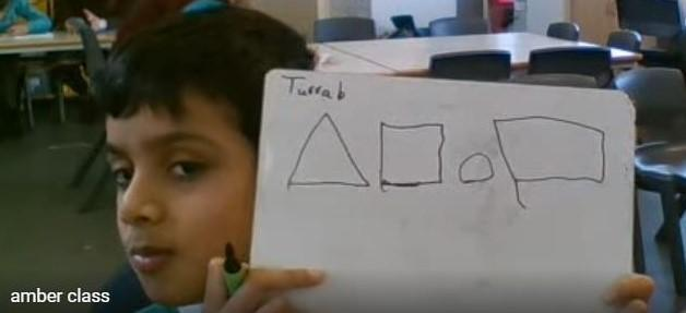 Turrab drawing and describing the properties of 2D shapes