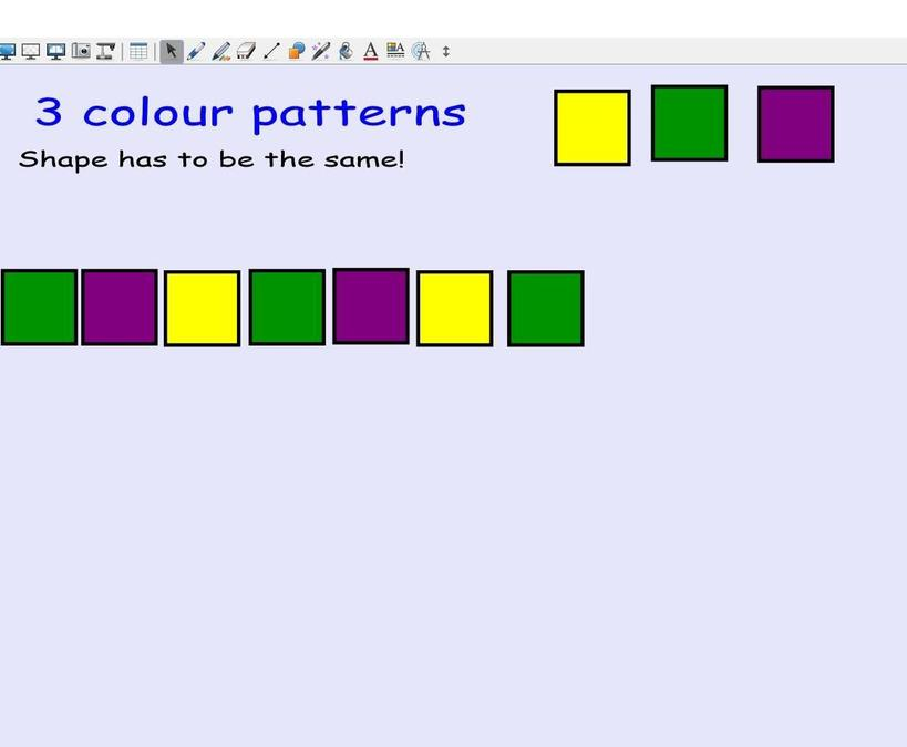 Continuing 4 stage patterns - each child participated to sequence the next colour