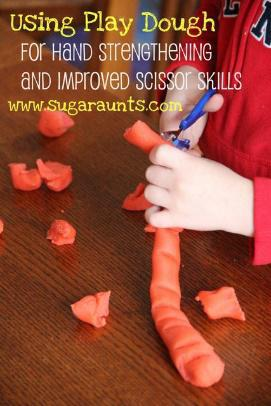scissors and play dough