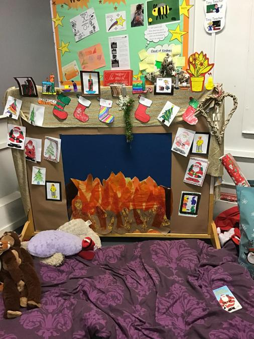 Our FABULOUS fireplace scenery ready for filming our Christmas show scene.