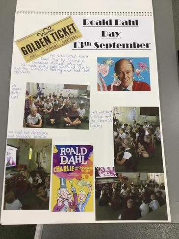 Roald Dahl Day. Today we celebrated the fantastic author Roald Dahl. We looked at his many stories and children enjoyed a chocolate themed afternoon, delicious hot chocolate and cookies while watching Charlie and the Chocolate Factory.