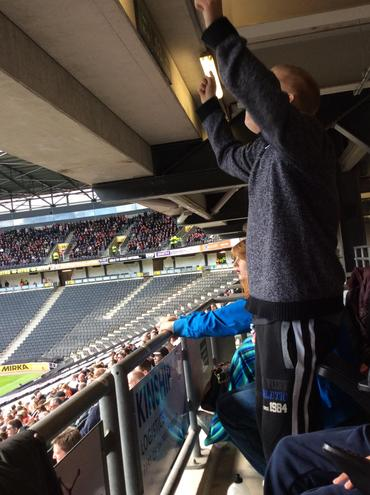 Cheering for the MK Dons goal