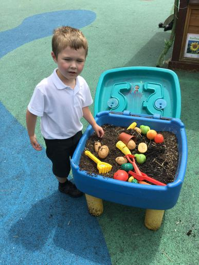 enjoying gardening in our outdoor area