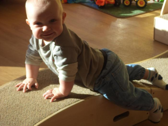 Climbing on the toddle boxes