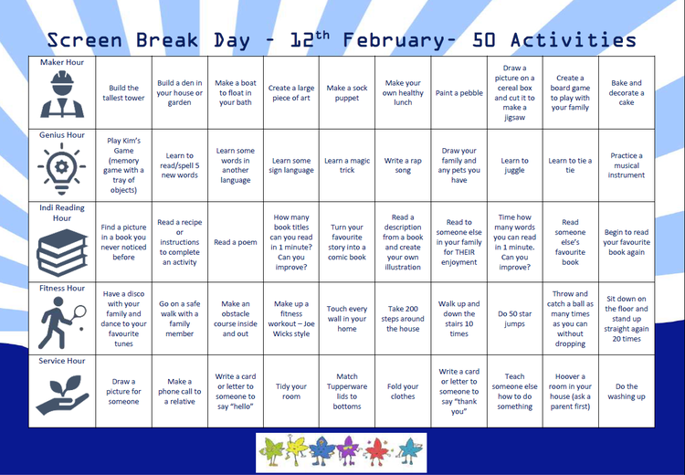 Here are some activities for you to complete on Friday as part of our screen free day.