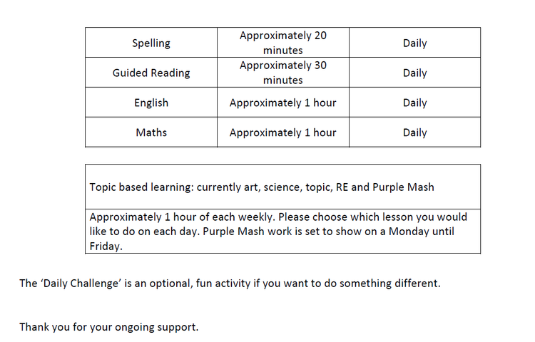 Year 3 timetable