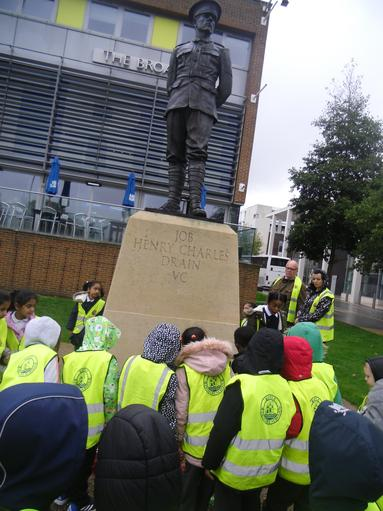 """As part of our history unit of significant people in our local are,  we went to visit Job Drain's statue in Barking. What a brave solider he was!"""