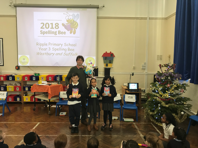 Our 3 winners from the Spelling Bee! Well done!