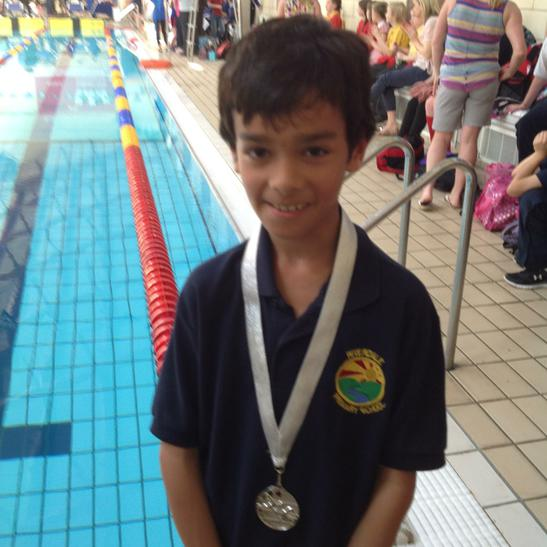 Max won silver in the 25m breaststroke