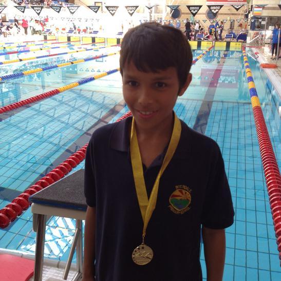 Josh won gold in the 25m breaststroke