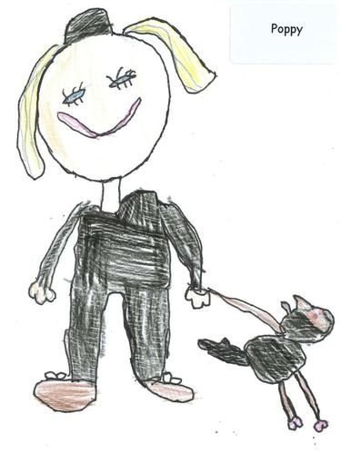 Poppy's Picture of Her Mummy with her Police Dog.