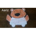 Aariz's gratitude card