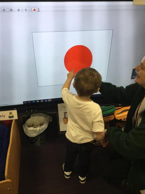 Using the fill button on an art package to create a red nose.
