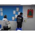 Decorating the classroom.